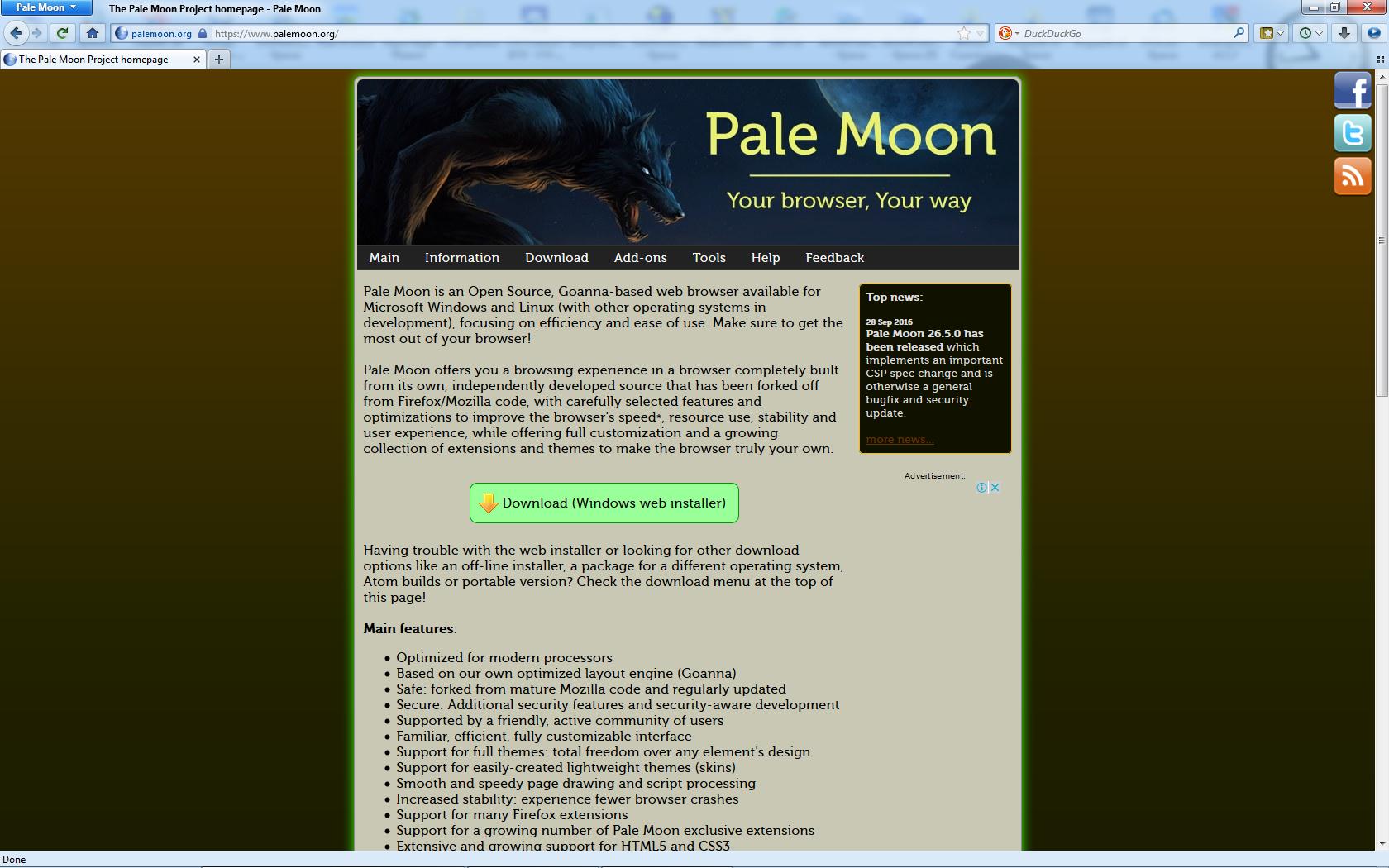 zaif noutbuklar uchun tezkor Pale Moon brauzeri